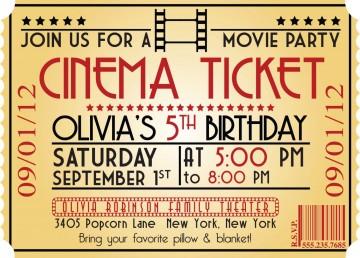 005 Marvelou Free Printable Movie Ticket Birthday Party Invitation Example 360