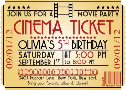 005 Marvelou Free Printable Movie Ticket Birthday Party Invitation Example 480