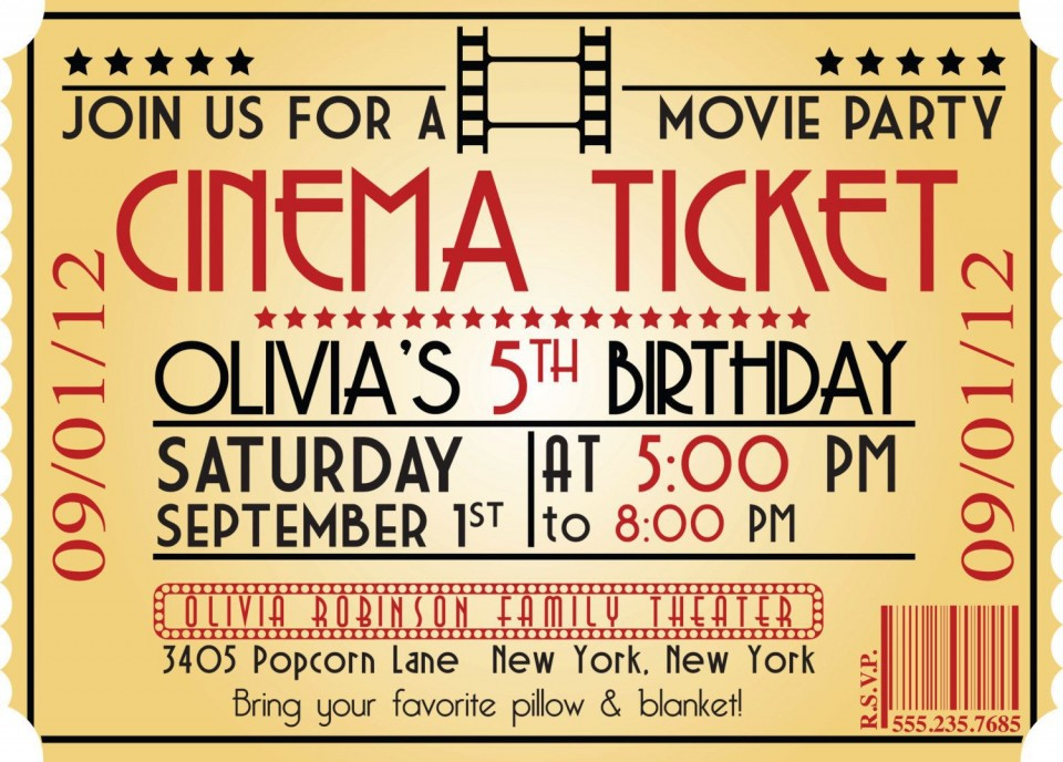 005 Marvelou Free Printable Movie Ticket Birthday Party Invitation Example 960