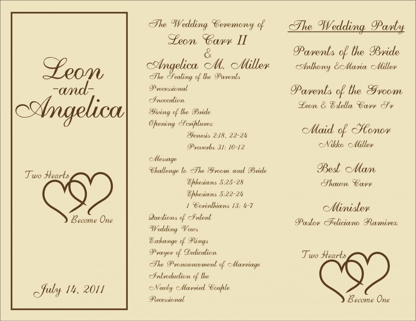 005 Marvelou Free Template For Wedding Ceremony Program Concept 1400