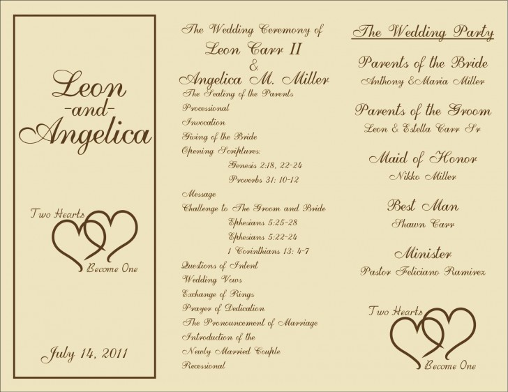 005 Marvelou Free Template For Wedding Ceremony Program Concept 728
