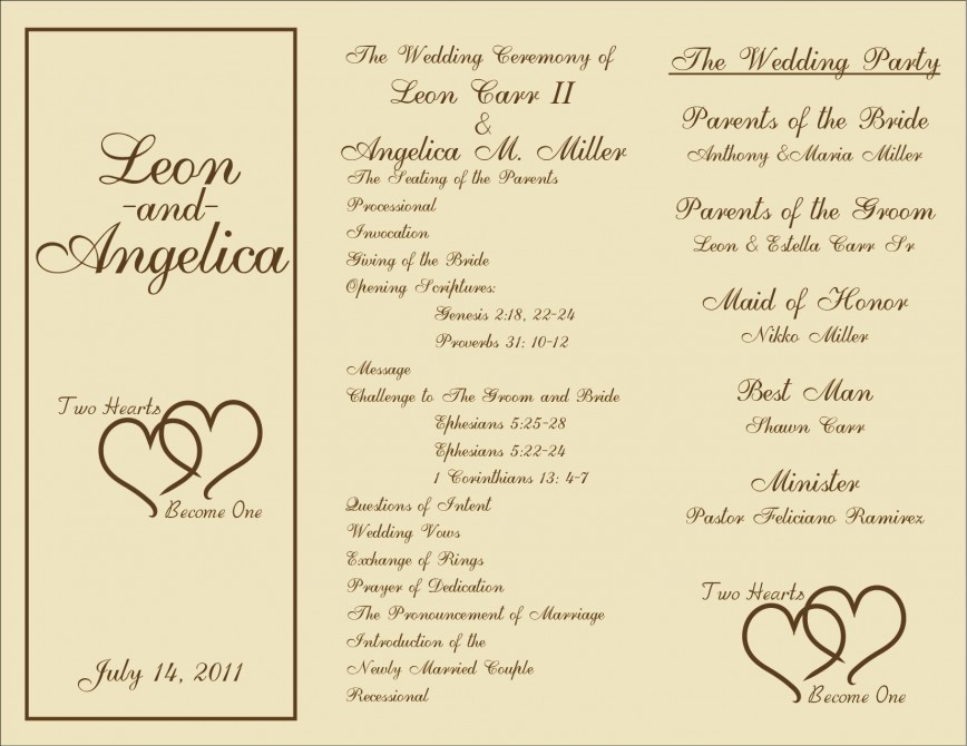 005 Marvelou Free Template For Wedding Ceremony Program Concept 868