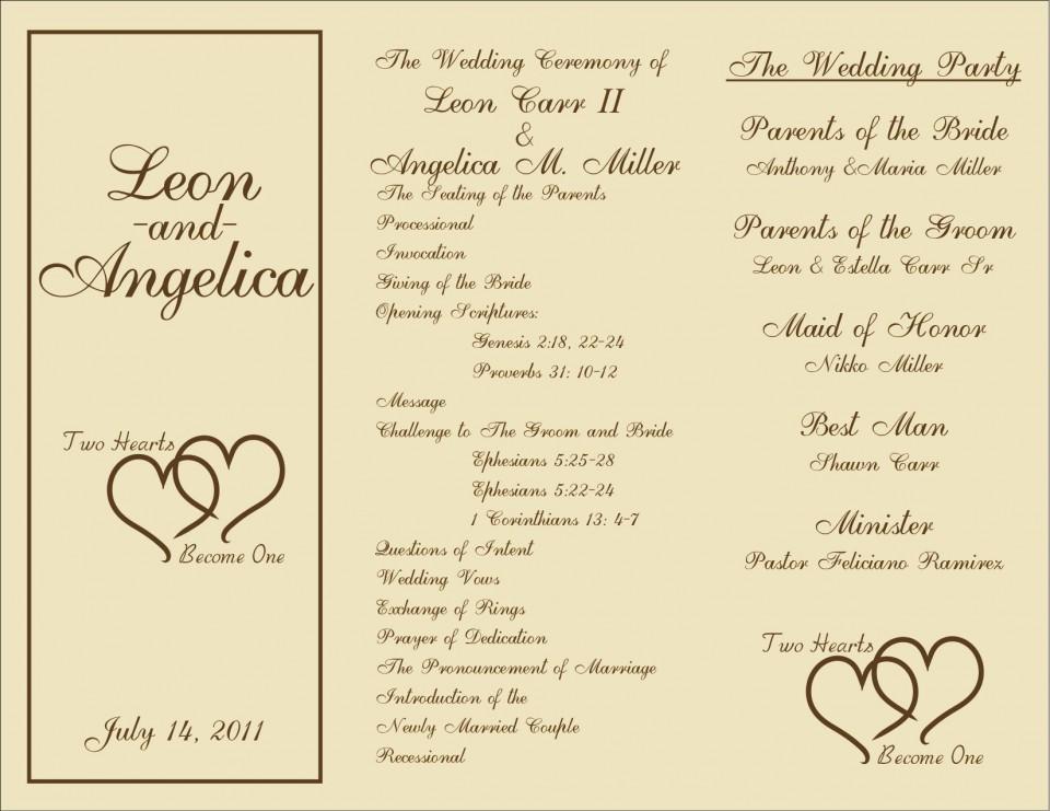005 Marvelou Free Template For Wedding Ceremony Program Concept 960