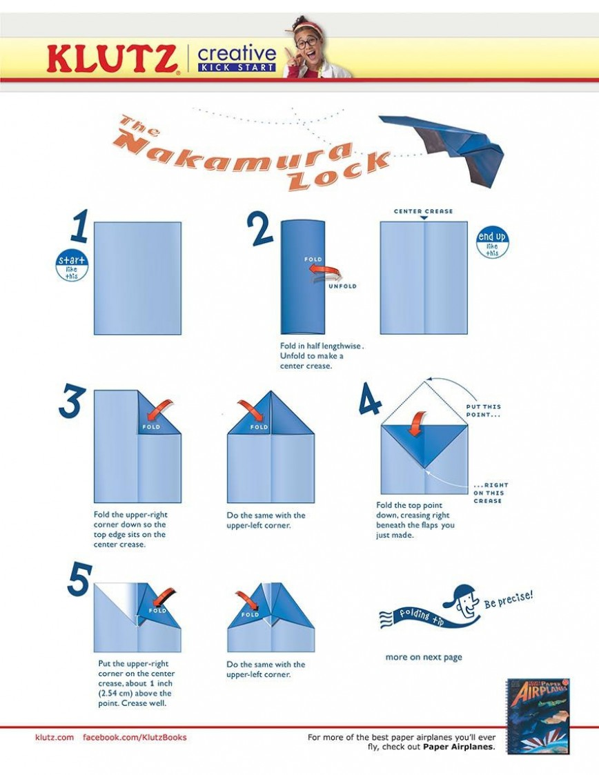 005 Marvelou Printable Paper Airplane Folding Instruction Highest Quality 868