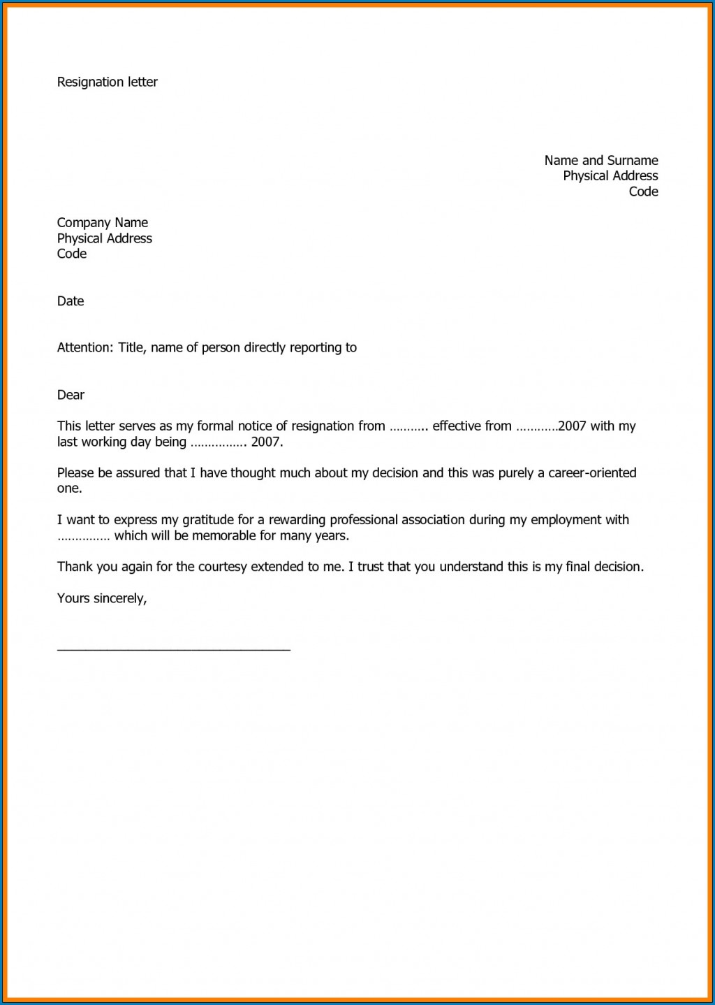 005 Marvelou Professional Resignation Letter Template Design  Best Format Pdf How To Write ALarge