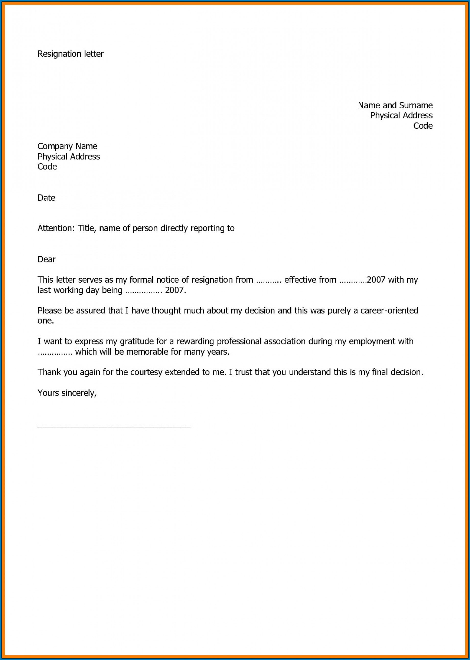005 Marvelou Professional Resignation Letter Template Design  Best Format Pdf How To Write A1920