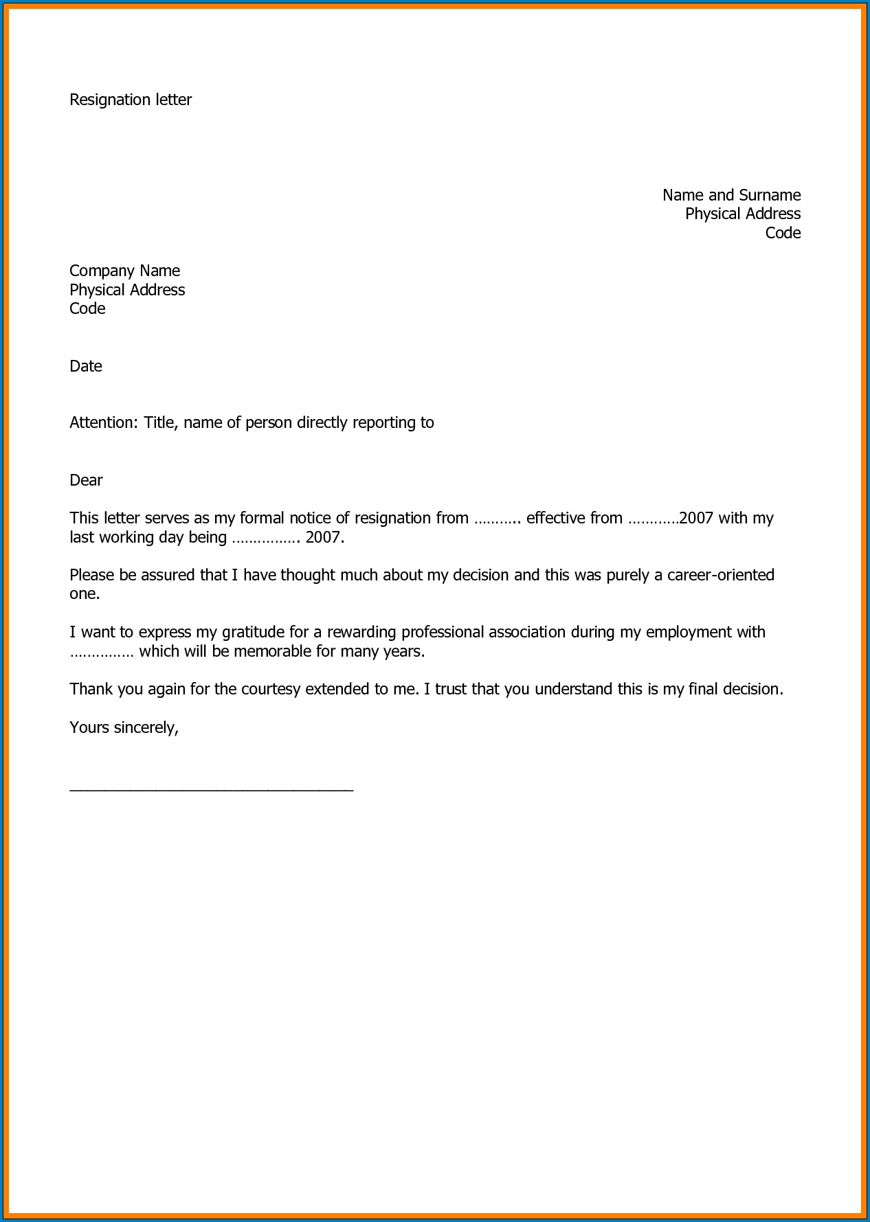 005 Marvelou Professional Resignation Letter Template Design  Best Format Pdf How To Write AFull