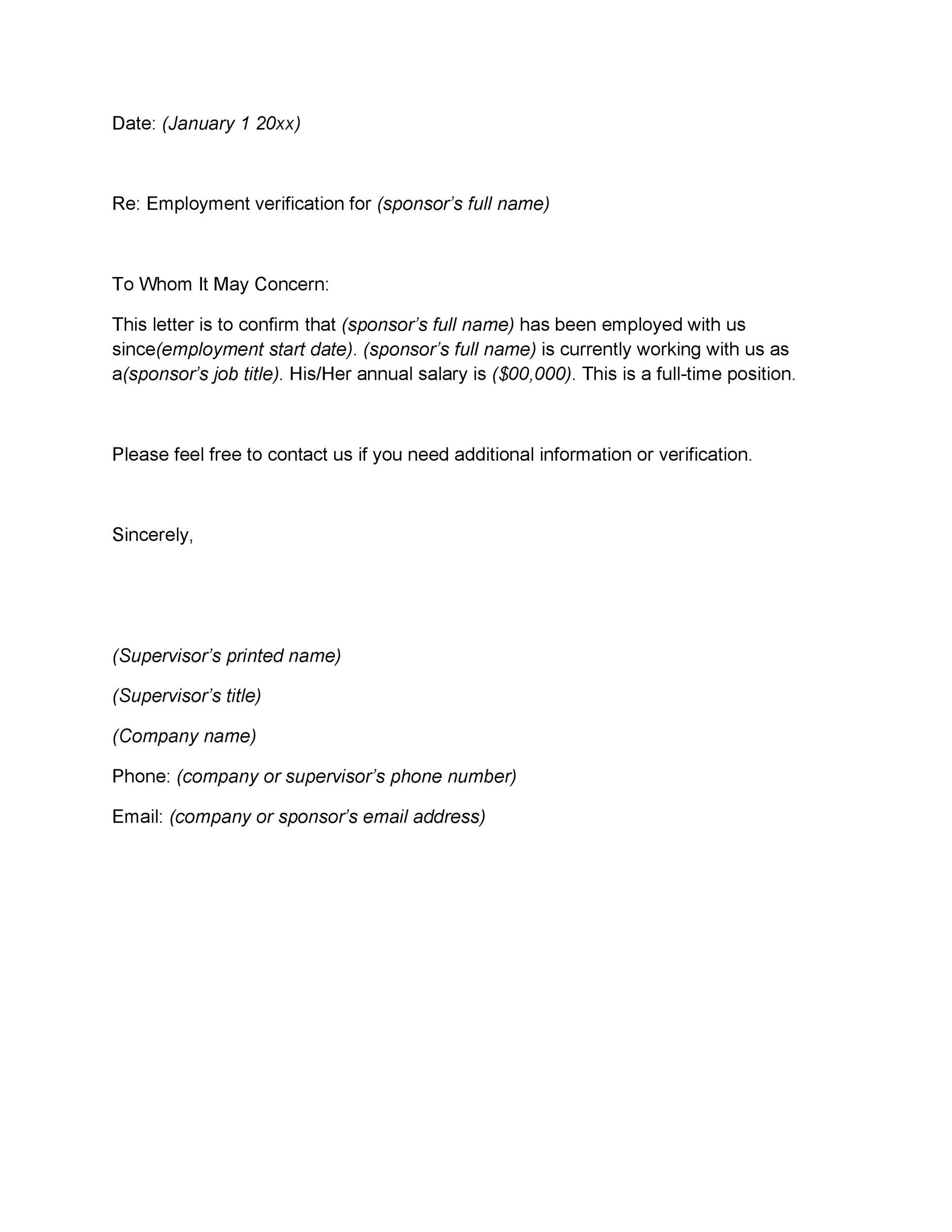 005 Outstanding Employment Verification Letter Template Word Idea  South AfricaFull