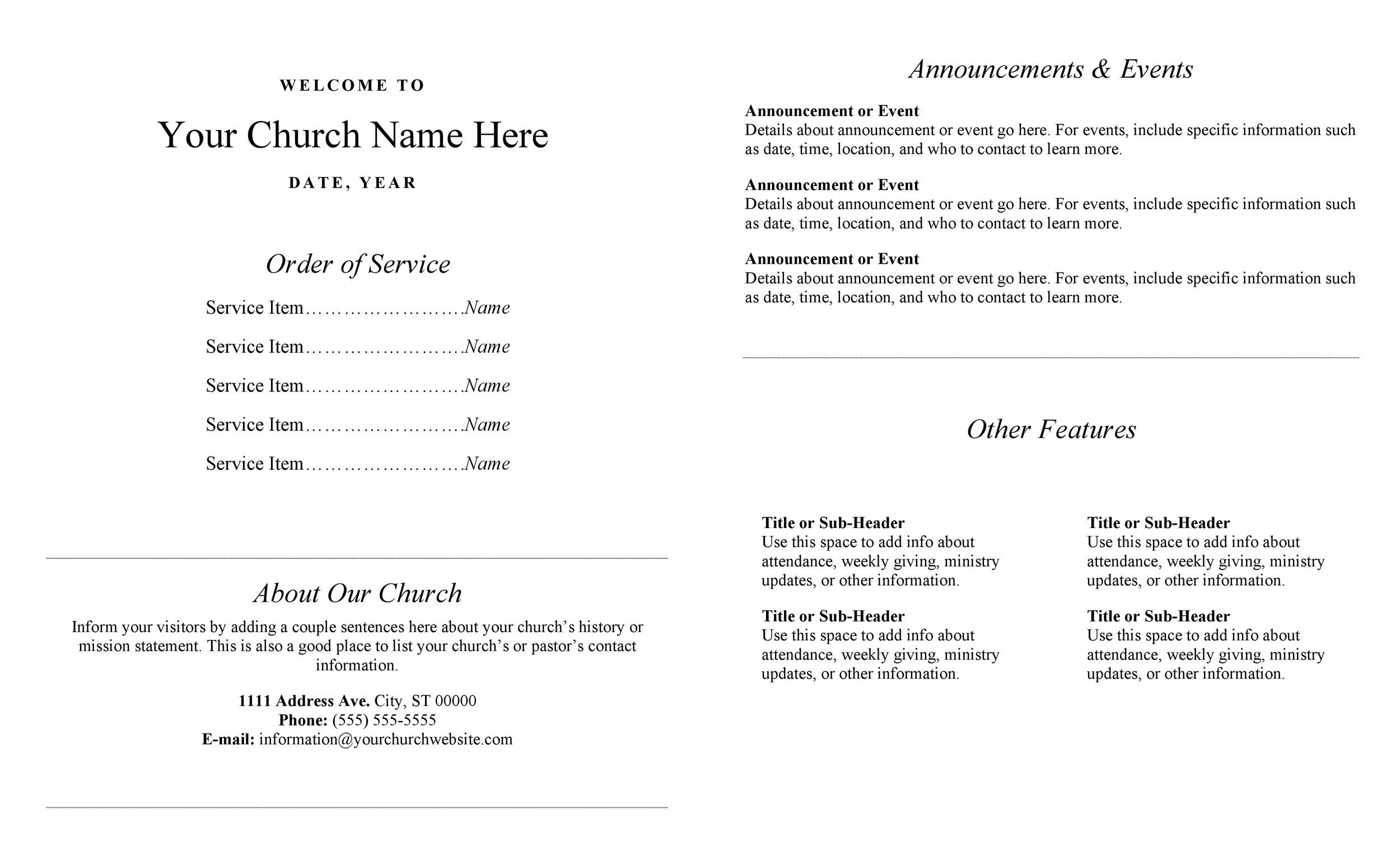 005 Outstanding Free Church Bulletin Template Word Concept  Program ForFull