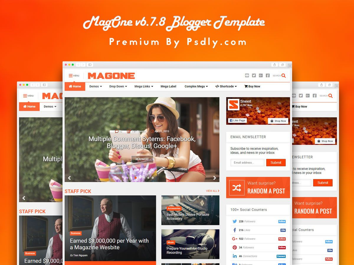 005 Outstanding Free Responsive Blogger Template One Column Example Full