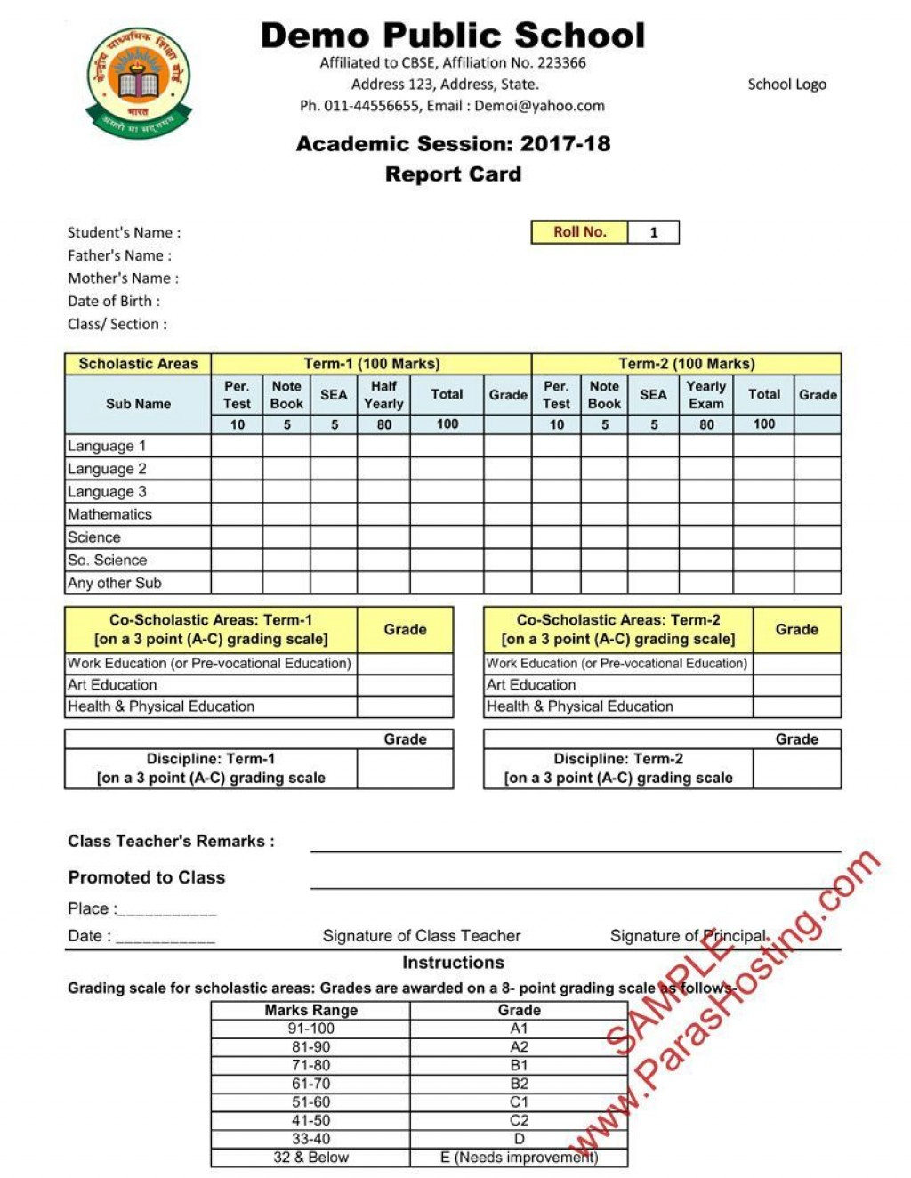 005 Outstanding Middle School Report Card Template Pdf High Def Large
