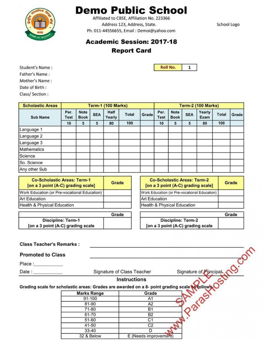 005 Outstanding Middle School Report Card Template Pdf High Def 868