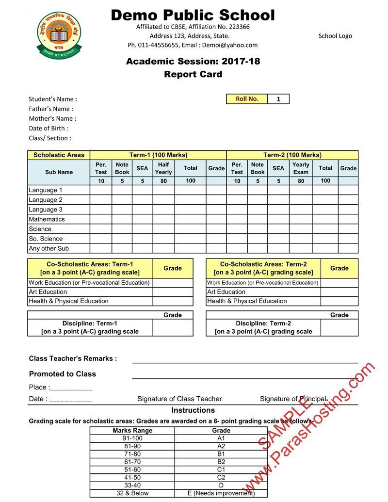 005 Outstanding Middle School Report Card Template Pdf High Def Full