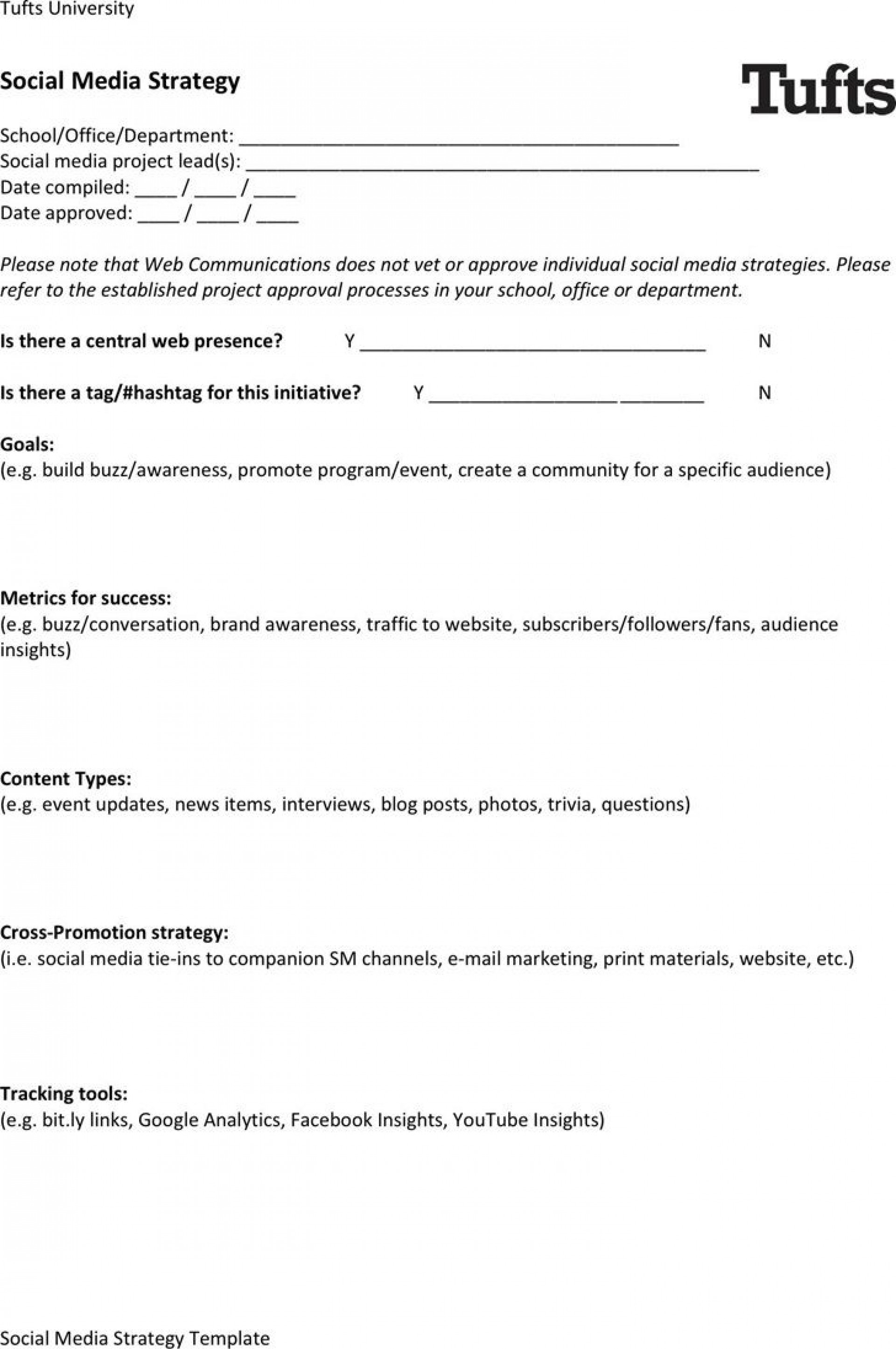 005 Outstanding Social Media Strategy Template Pdf Example  Sample Content1920