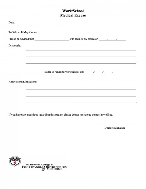 005 Outstanding Urgent Care Doctor Note Template High Definition  Sample Fake Doctor' Printable480