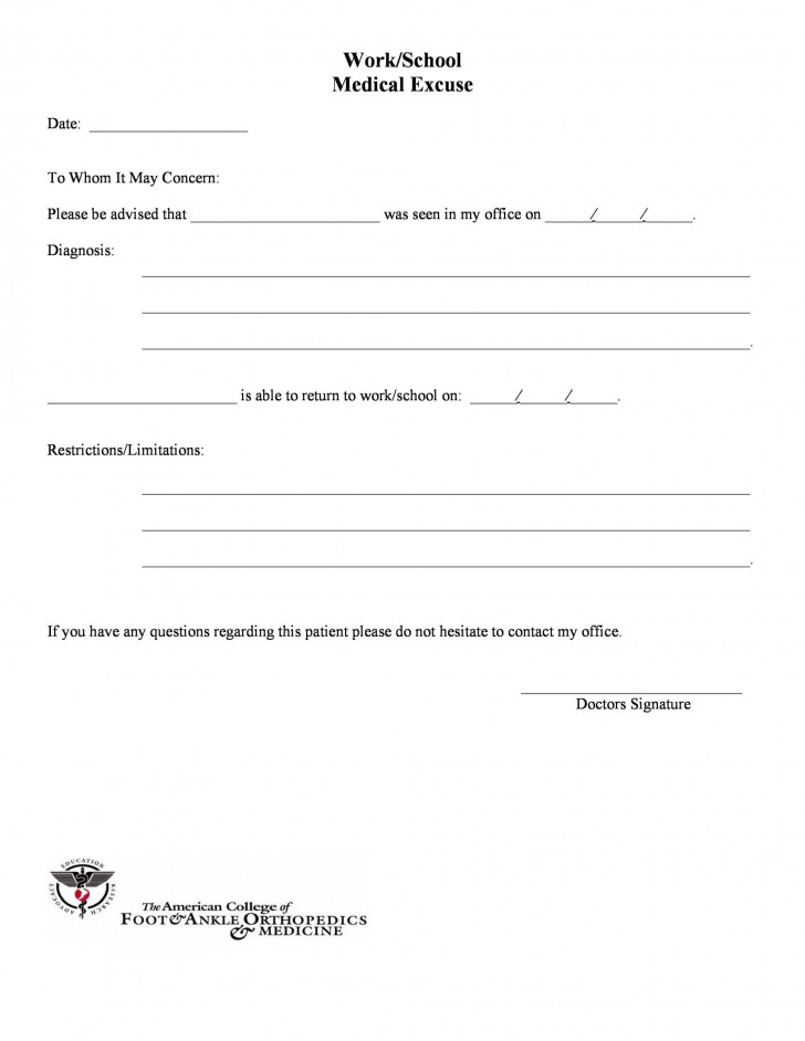005 Outstanding Urgent Care Doctor Note Template High Definition  Sample Fake Doctor' Printable728