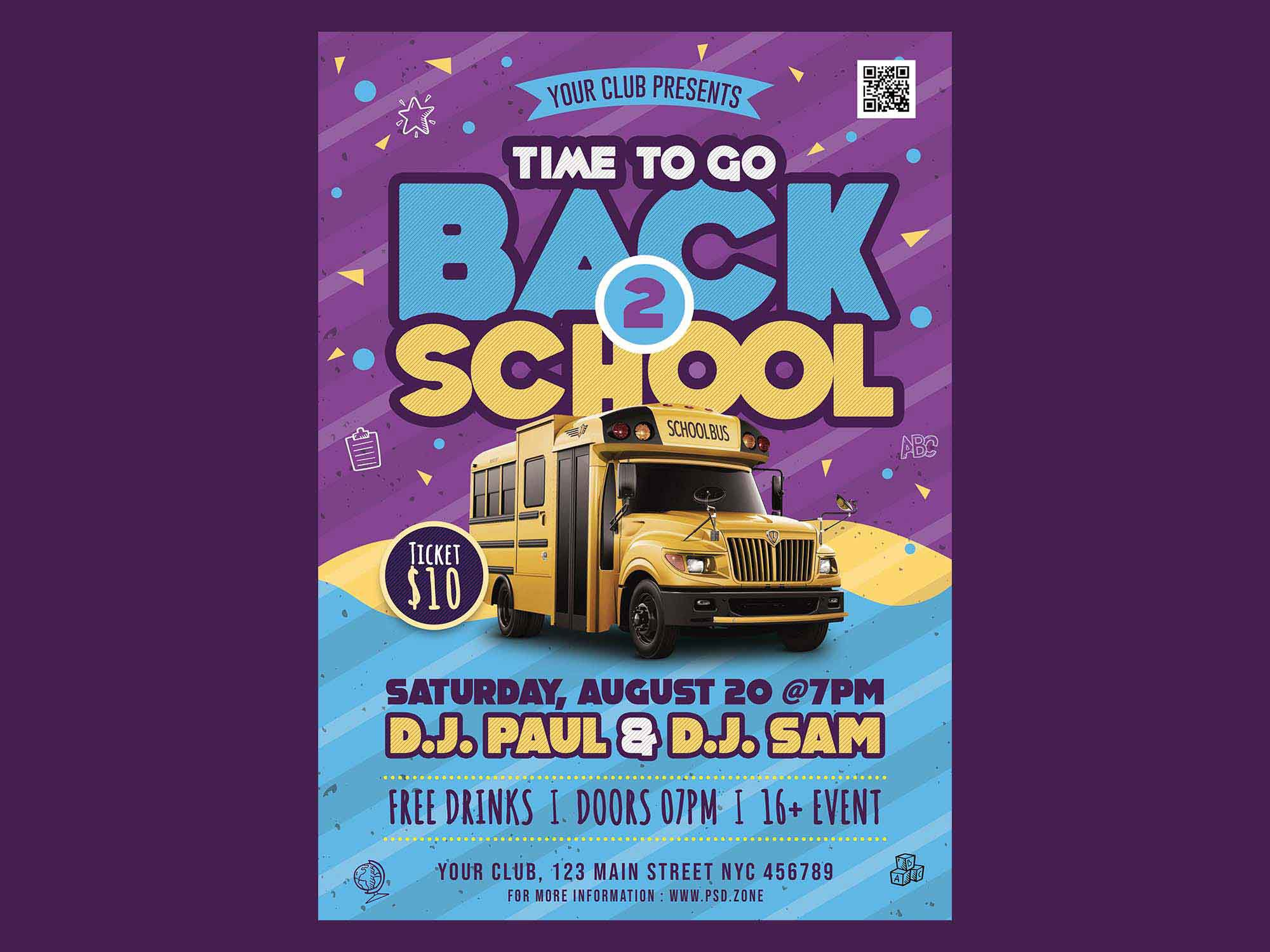 005 Phenomenal Free Back To School Flyer Template Psd Inspiration Full