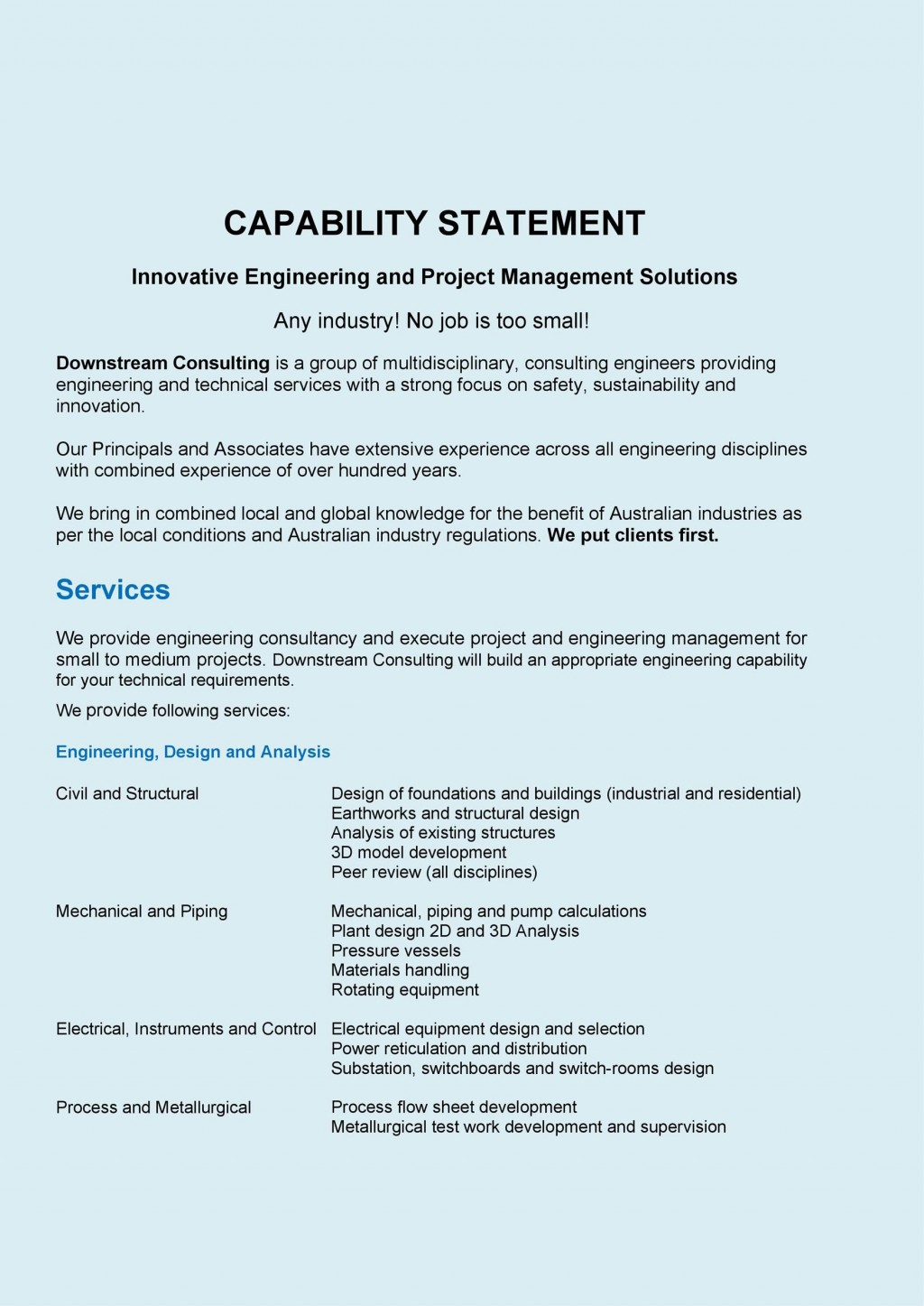 005 Phenomenal Free Capability Statement Template Word Design  DocumentLarge