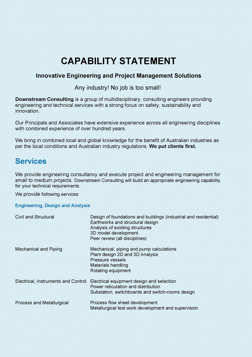 005 Phenomenal Free Capability Statement Template Word Design  Document