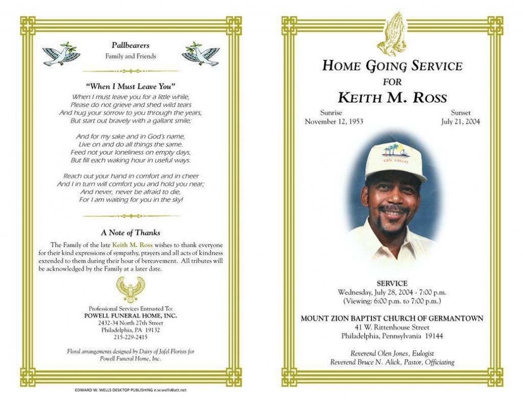 005 Phenomenal Free Download Template For Funeral Program Concept Large