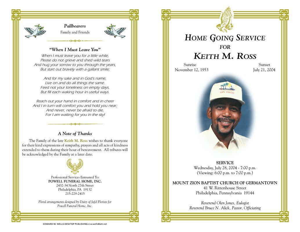 005 Phenomenal Free Download Template For Funeral Program Concept Full