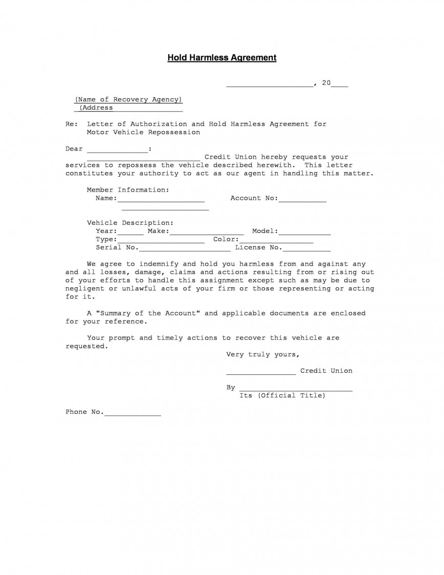 005 Phenomenal Hold Harmles Agreement Template Sample  Michigan Word For Sport