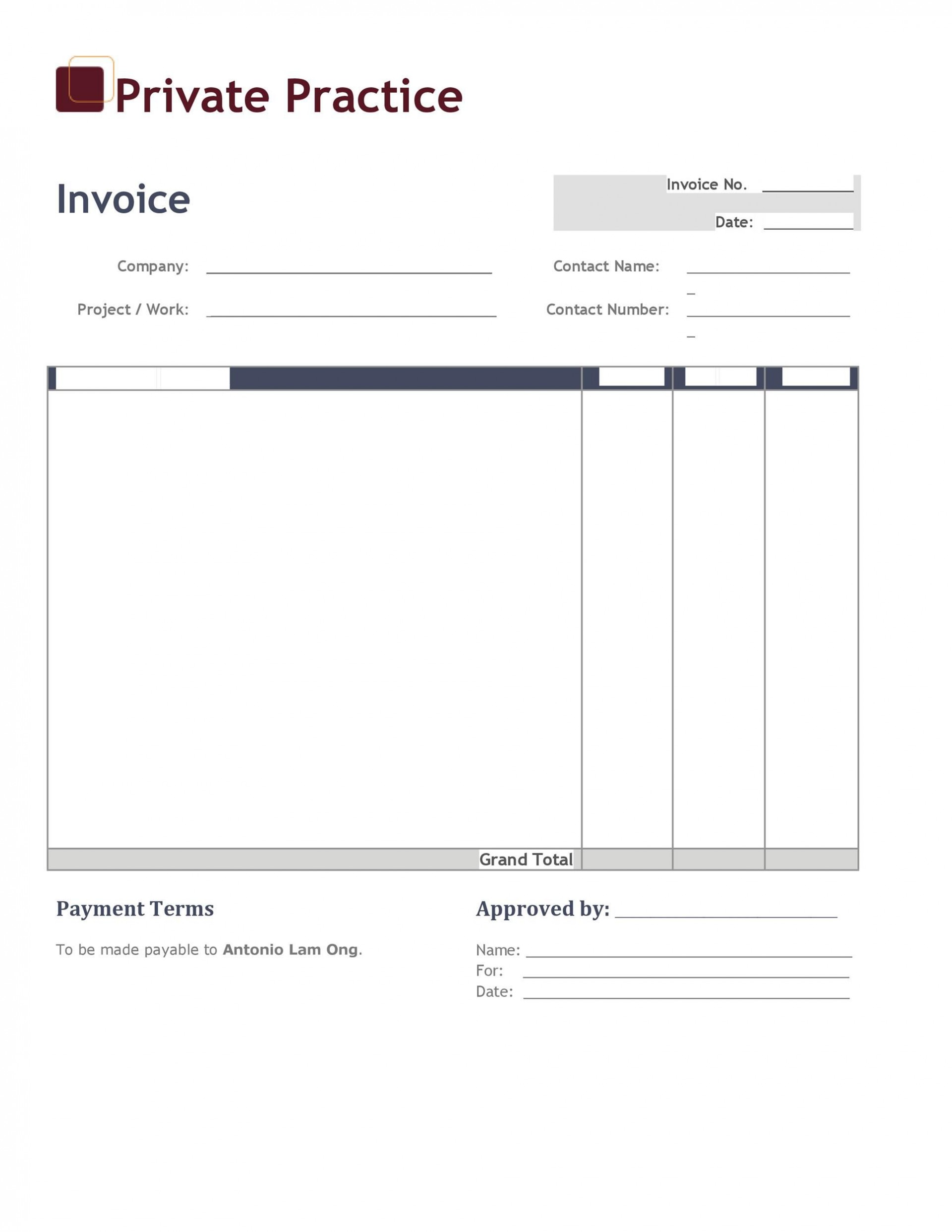 005 Phenomenal Invoice Template Free Word Concept  Sample Microsoft Simple1920