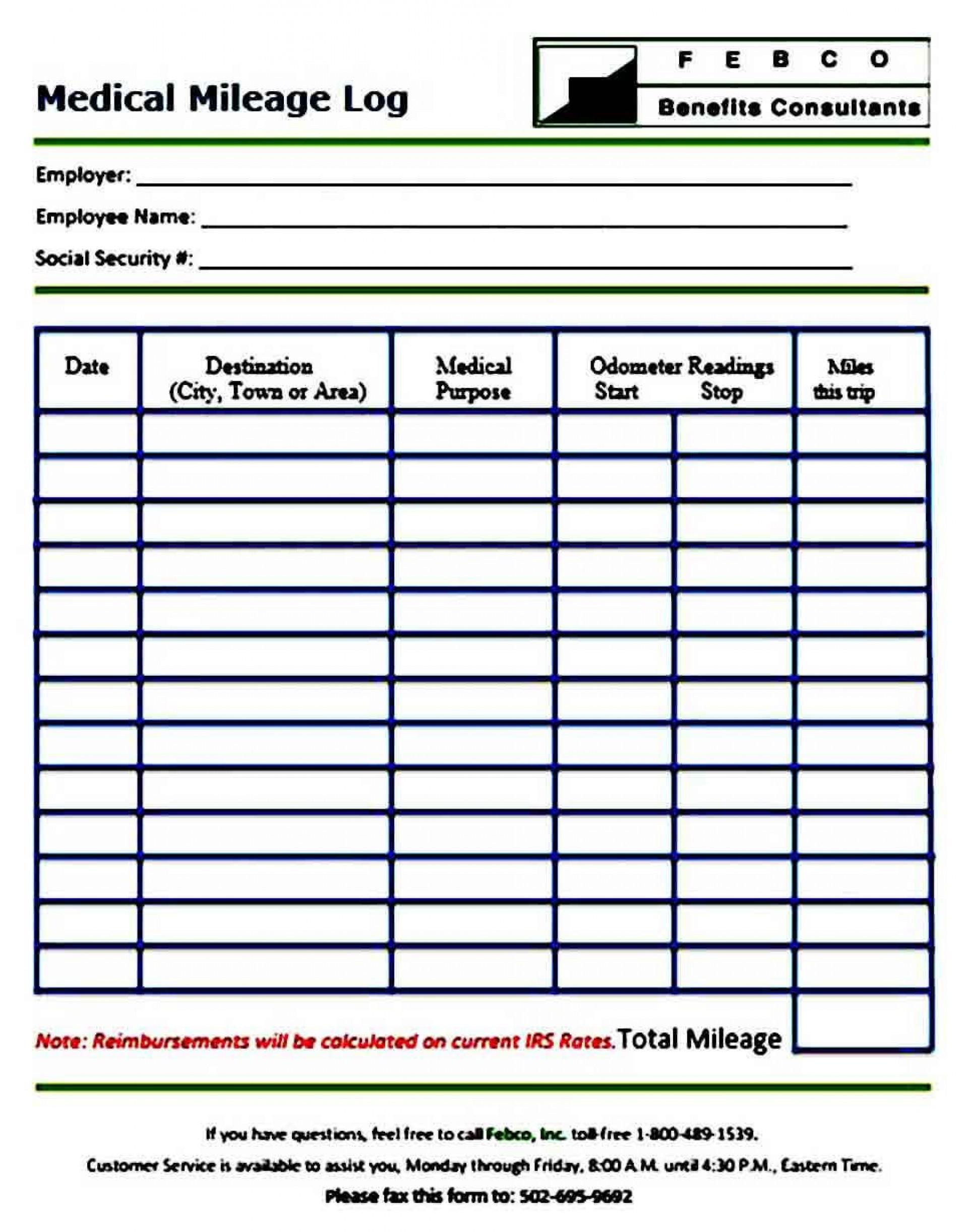 005 Phenomenal Mileage Log Printable Template Example  Book Excel1920