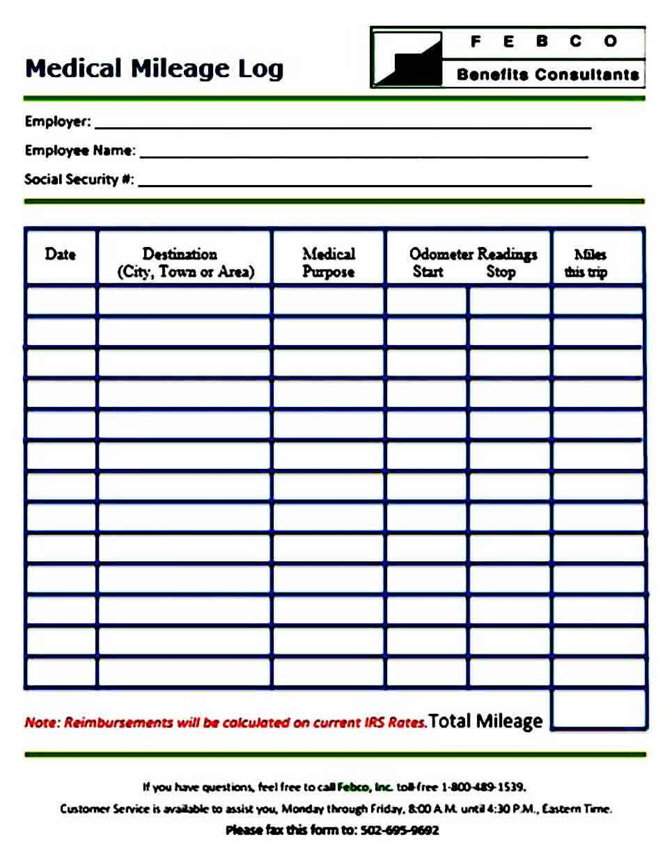 005 Phenomenal Mileage Log Printable Template Example  Book ExcelFull