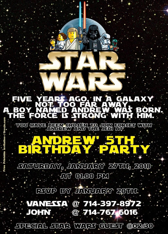 005 Phenomenal Star War Birthday Invitation Template High Def  Free Party PrintableLarge