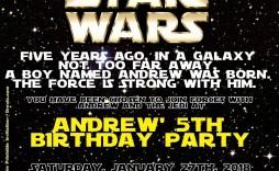 005 Phenomenal Star War Birthday Invitation Template High Def  Free Party Printable