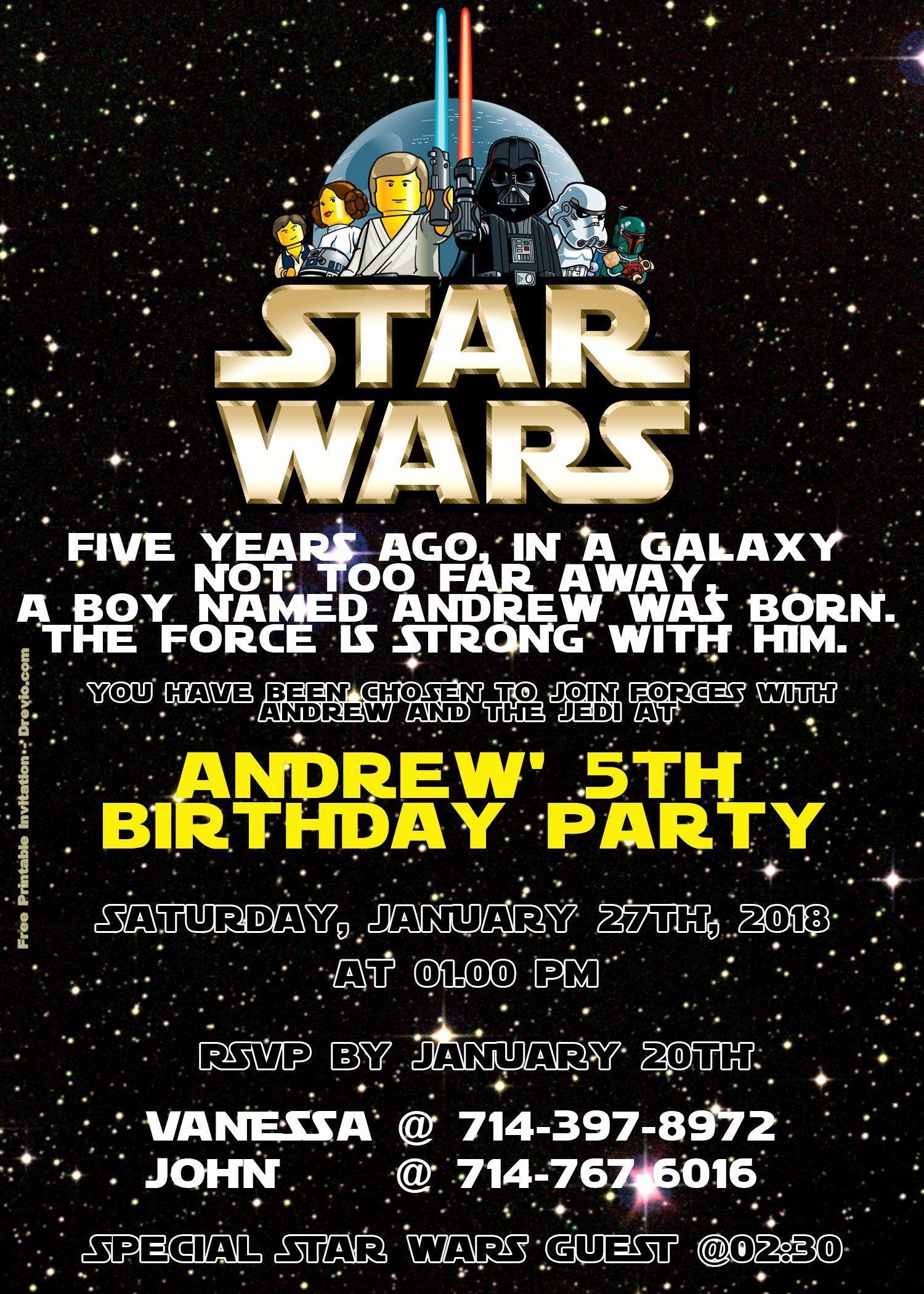 005 Phenomenal Star War Birthday Invitation Template High Def  Free Party PrintableFull