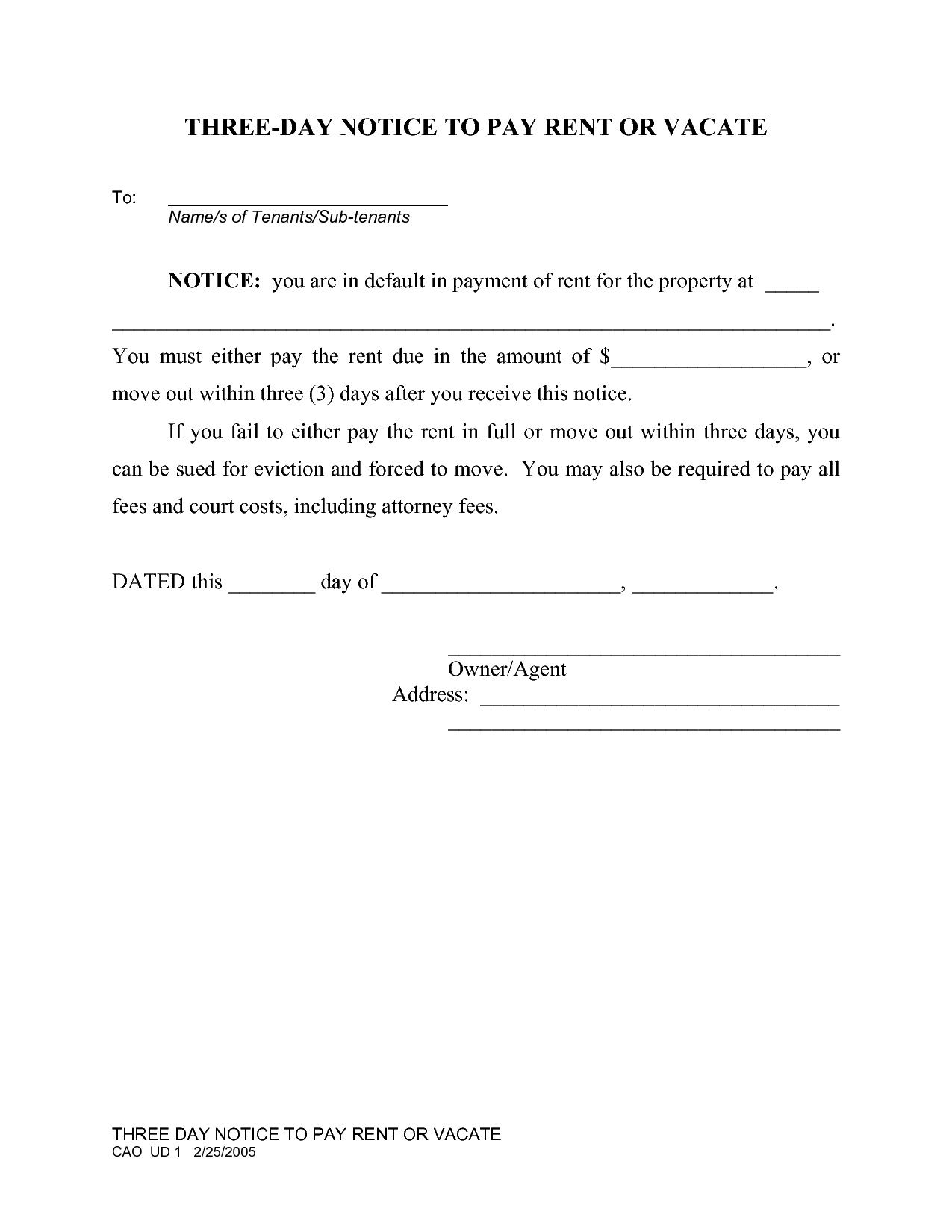 005 Rare 3 Day Eviction Notice Template High Resolution  Form Pdf FloridaFull