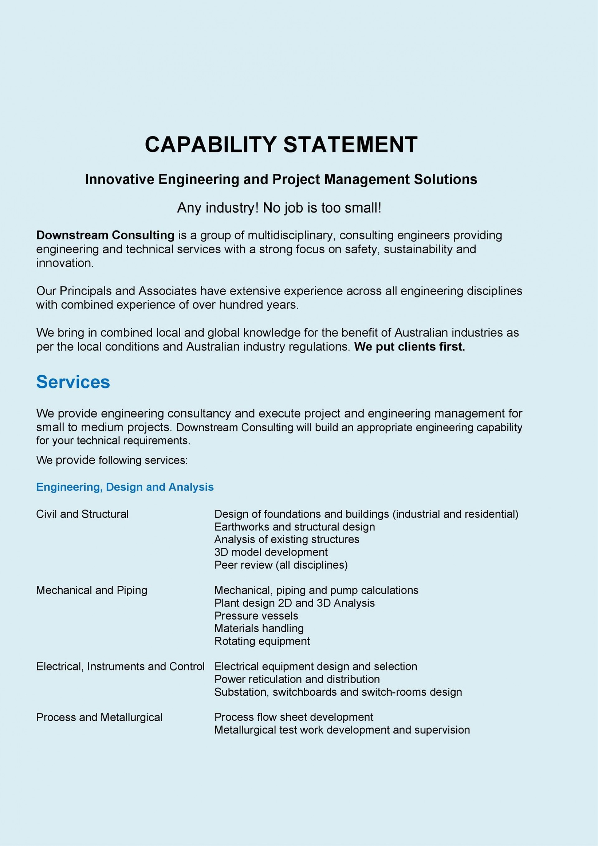 005 Rare Capability Statement Template Free Highest Quality  Word Editable Design1920