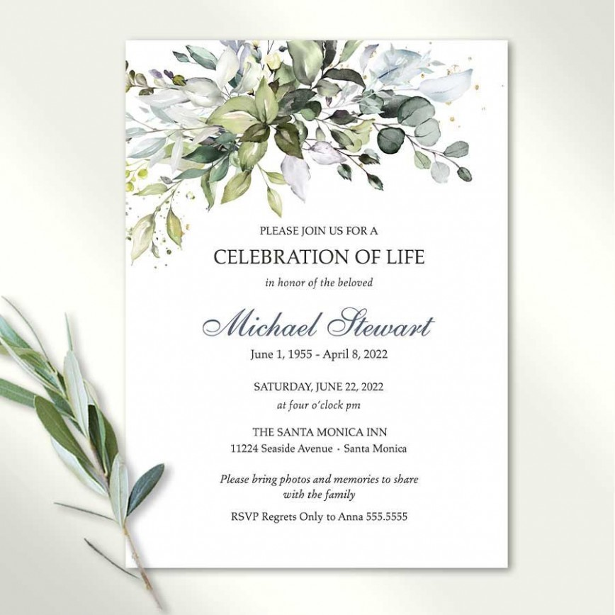 005 Rare Celebration Of Life Invite Template Free Design  Invitation Download868