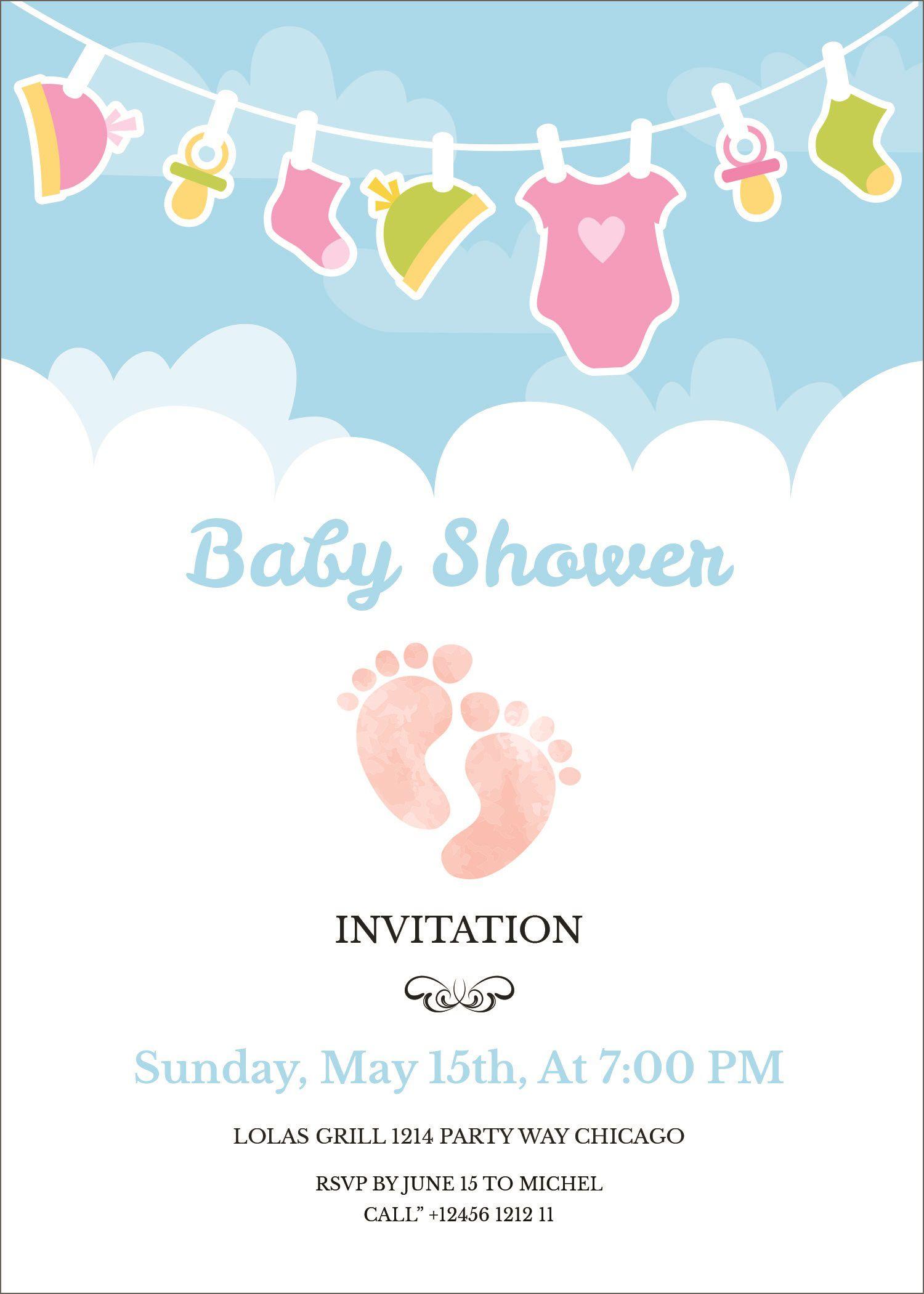 005 Rare Free Baby Shower Invitation Template Editable Highest Quality  Digital Microsoft WordFull