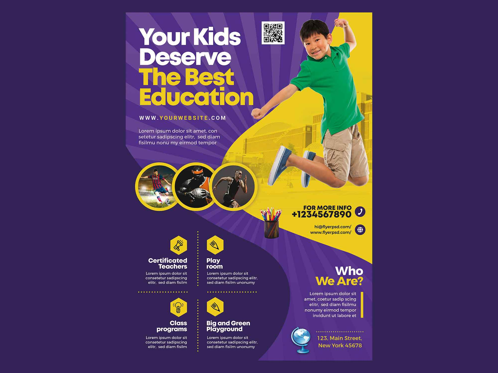 005 Rare Free School Flyer Design Template Concept  Templates Creative Education PosterFull