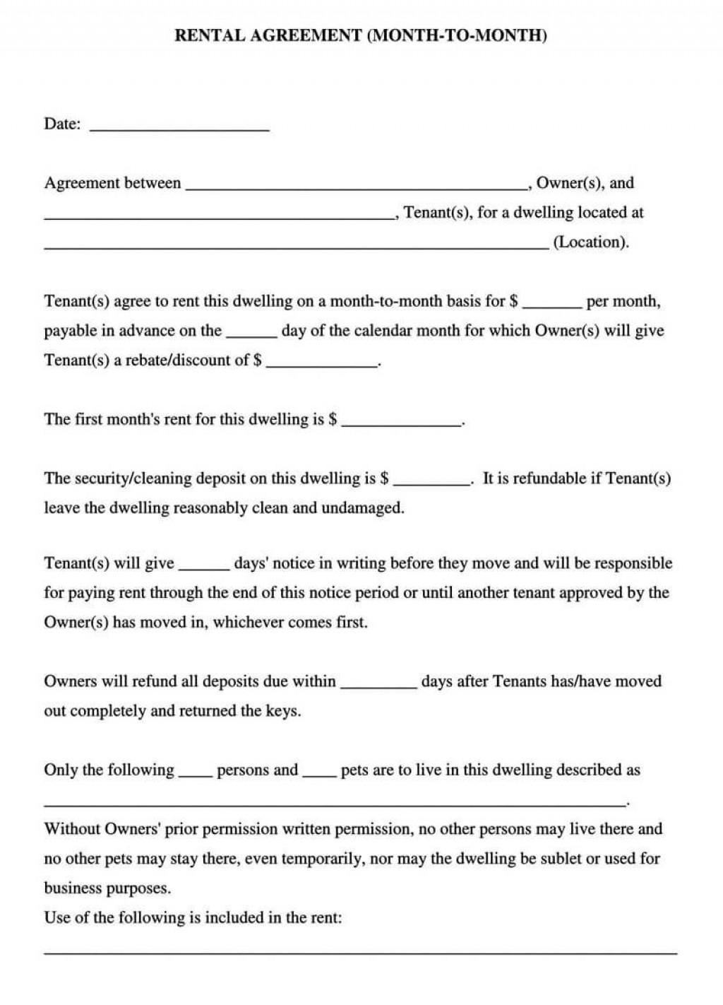 005 Rare Generic Rental Agreement Free Inspiration  Template Word PrintableLarge