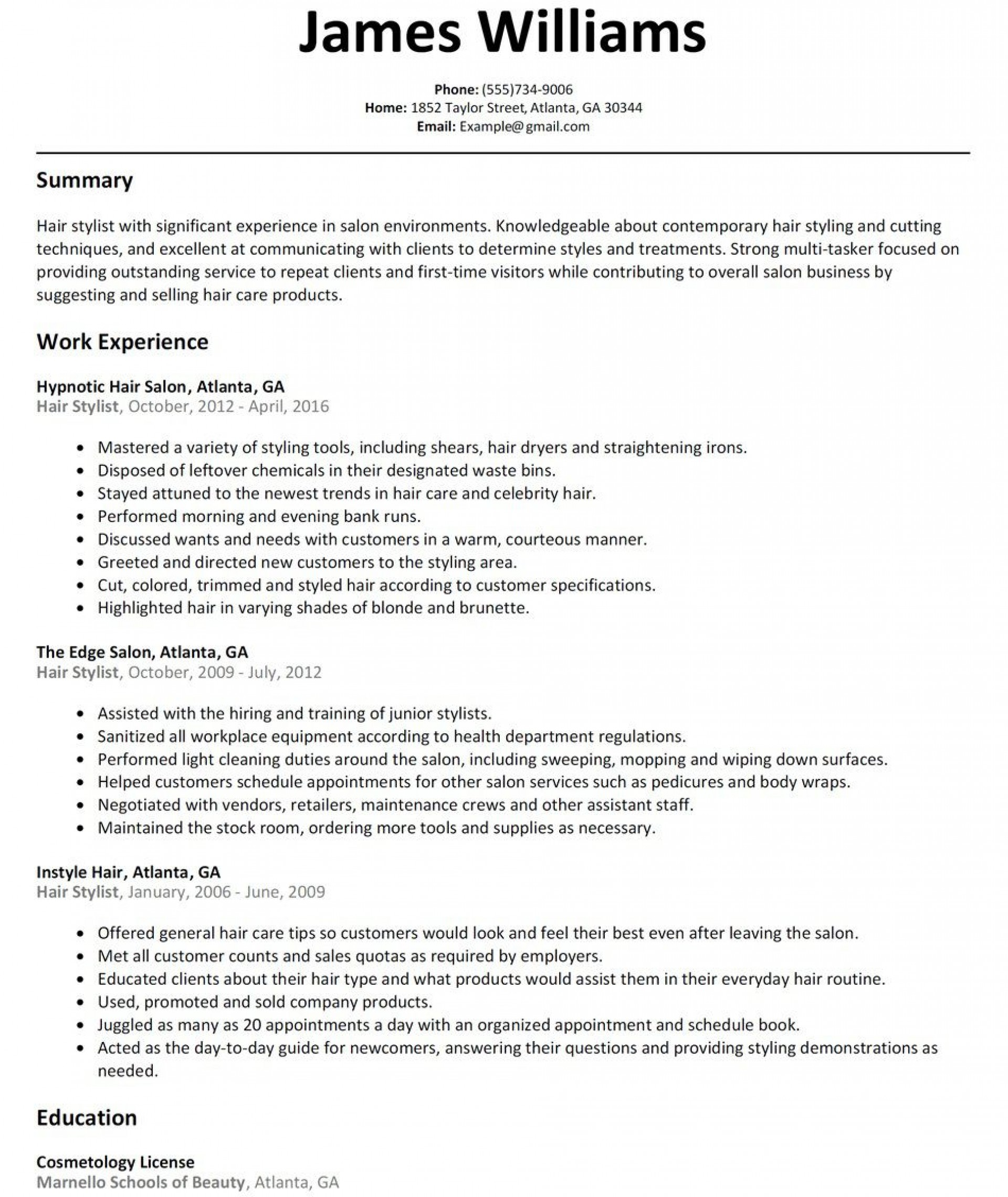 005 Rare Hair Stylist Resume Template High Def  Word Free Download1920