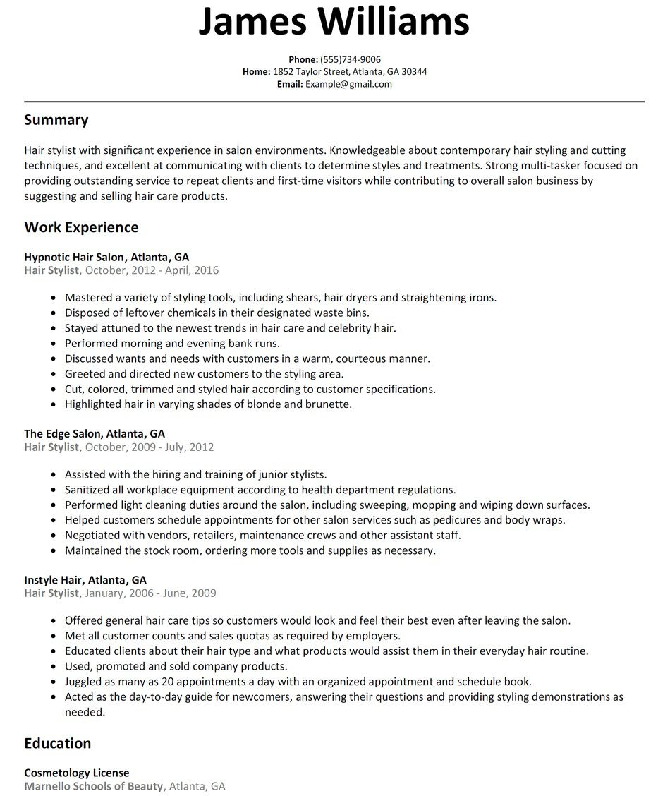 005 Rare Hair Stylist Resume Template High Def  Word Free DownloadFull