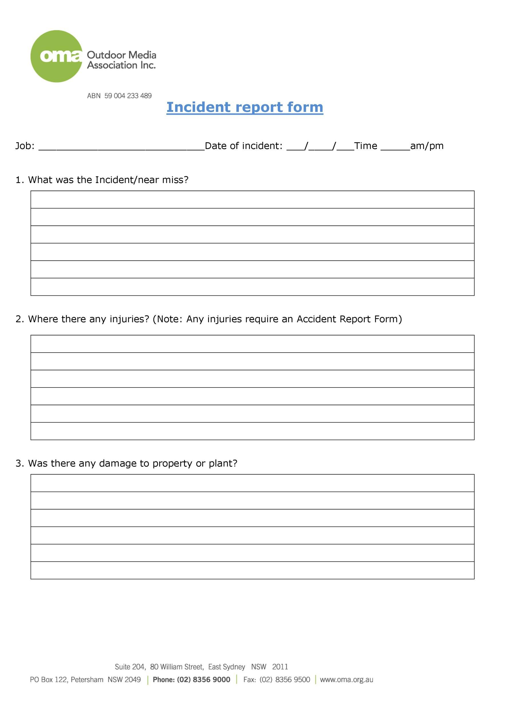 Incident Report Form Template Addictionary