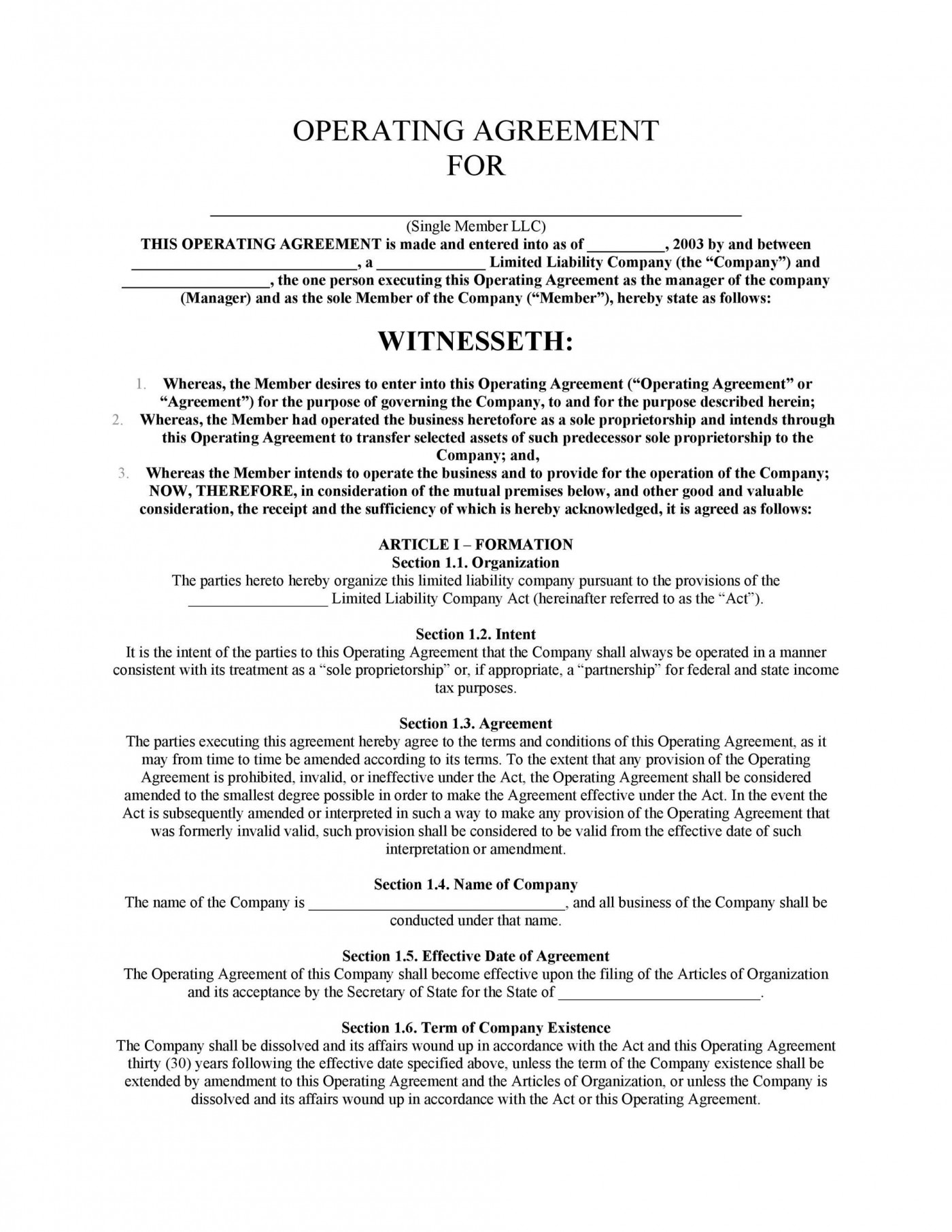 005 Rare Llc Partnership Agreement Template Design  Free Operating1400
