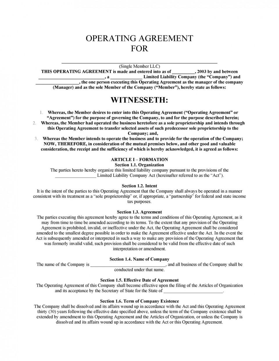 005 Rare Llc Partnership Agreement Template Design  Free Operating960