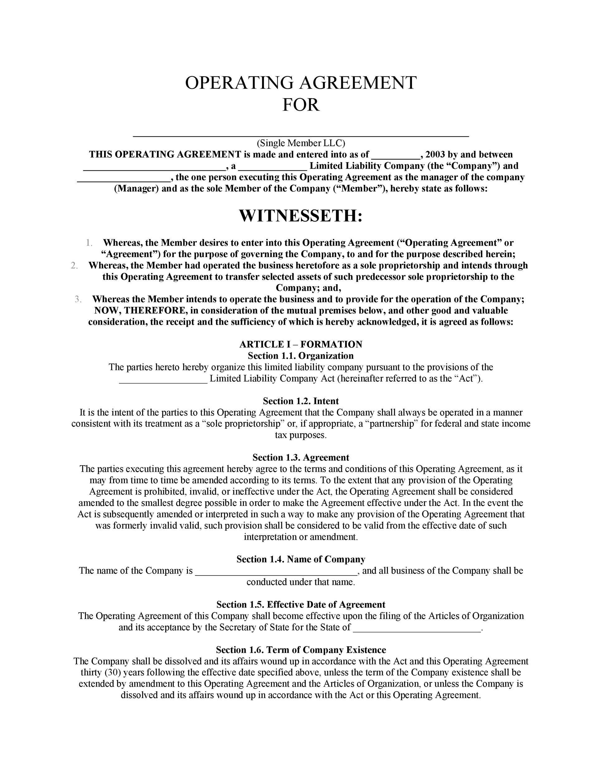 005 Rare Llc Partnership Agreement Template Design  Free OperatingFull