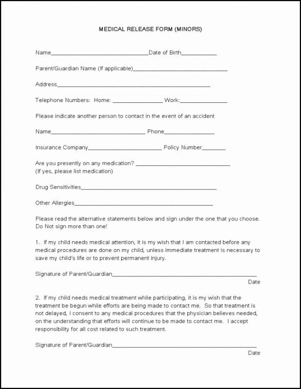 005 Rare Medical Release Form Template Design  Free Consent Uk For MinorLarge
