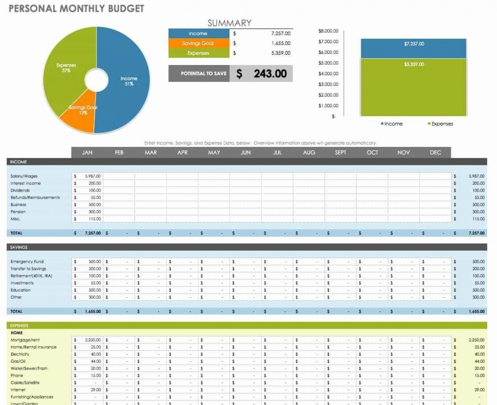 005 Rare Monthly Budget Sample Excel  Template Simple India Personal FreeLarge