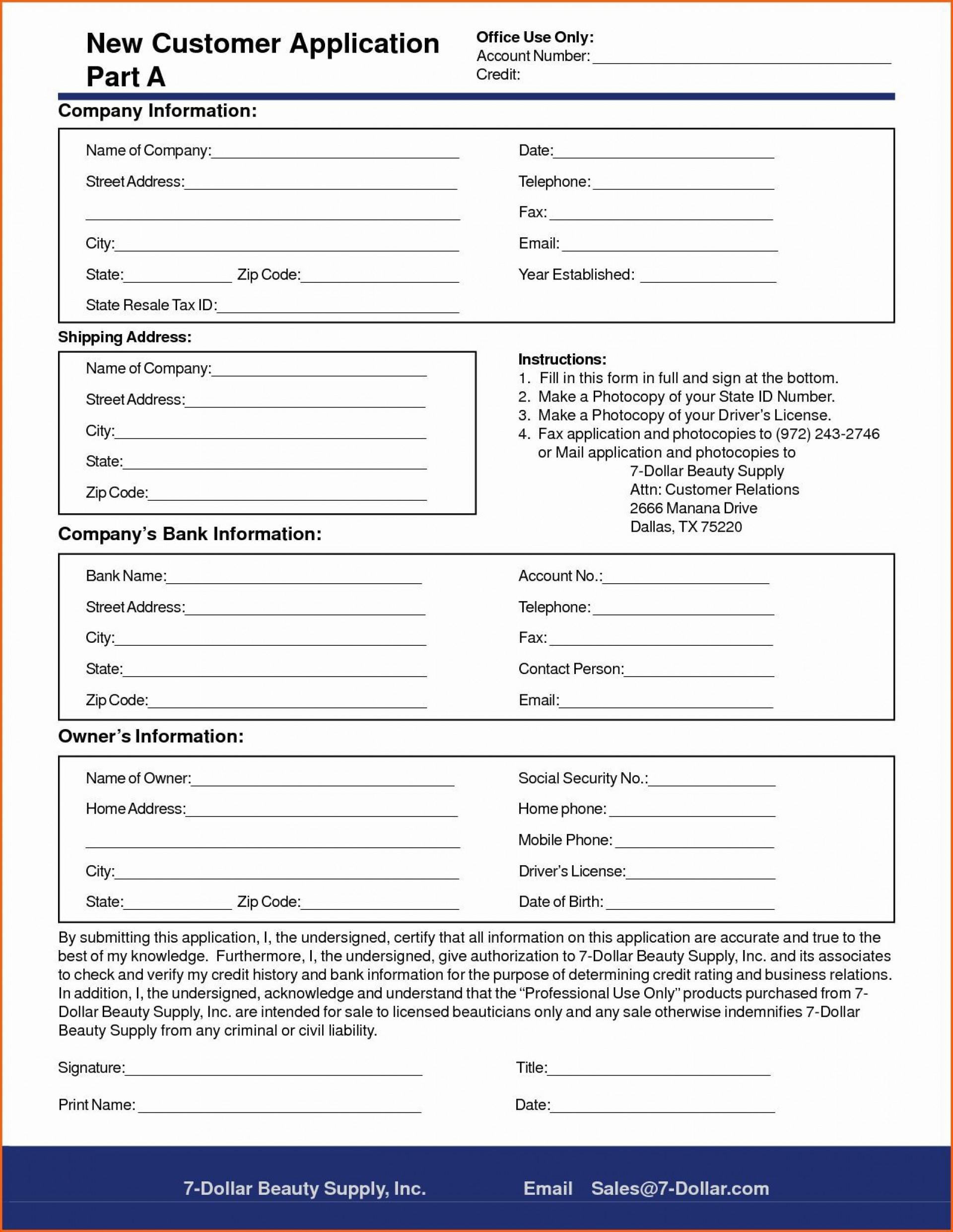 005 Rare New Customer Form Template Word Photo  Registration Account Feedback1920