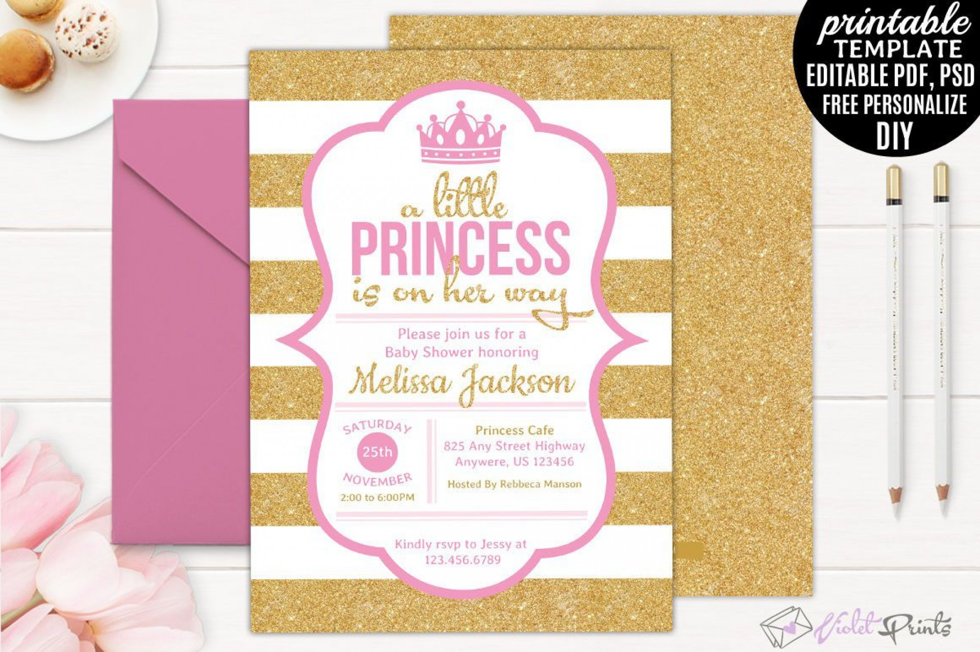 005 Rare Princes Baby Shower Invitation Template Highest Quality  Templates Little Royal Red Disney1920