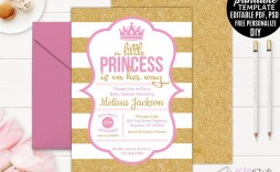 005 Rare Princes Baby Shower Invitation Template Highest Quality  Templates Little Royal Red Disney