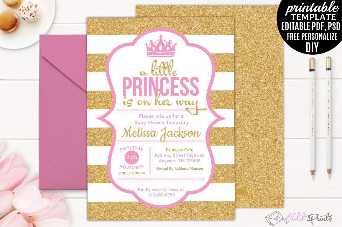 005 Rare Princes Baby Shower Invitation Template Highest Quality  Templates Little Royal Red DisneyFull